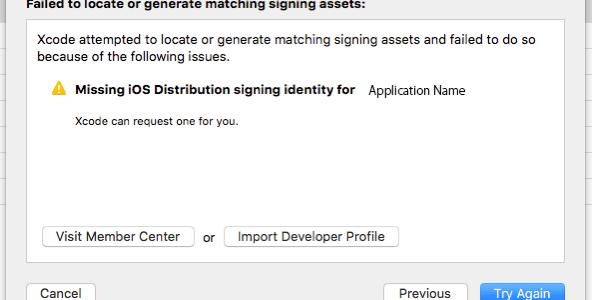 XcodeでAdHoc用書き出し時のエラーについて