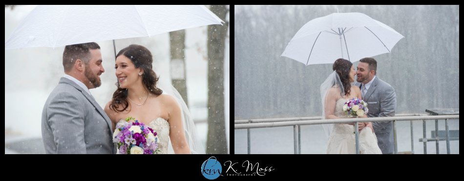 Bride and groom snow wedding photos as Capriottis, McAdoo PA | K. Moss Photography