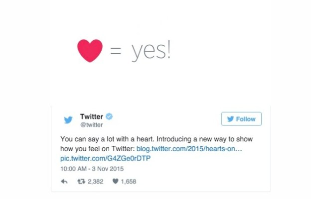 Aww: Twitter replaces stars with hearts