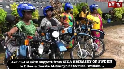 Action Aid Liberia donates four Motor Bikes to Rural Women.