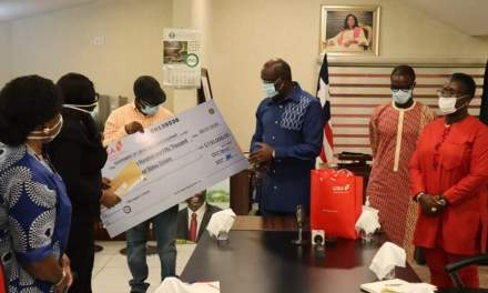 UBA PLC Gives One Hundred Fifty Thousand USD to Support Corona Virus Fight in Liberia.