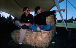 Steve Jobs gets interviewed by Brent Schlender of Fortune Magazine at a NeXT company picnic.