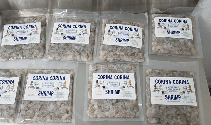 multiple vacuum-pack packages of Corina Corina shrimp