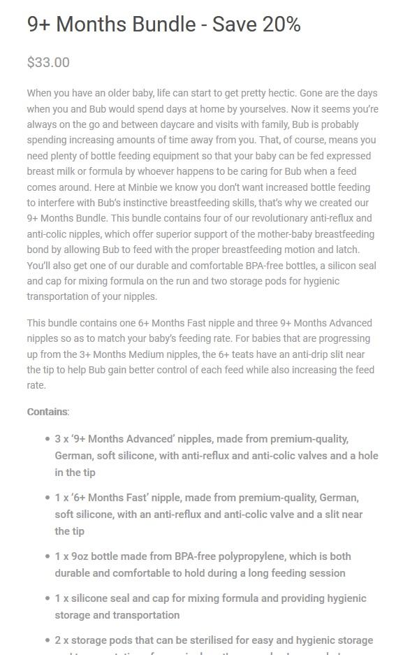 9+ months bundle Minbie product description