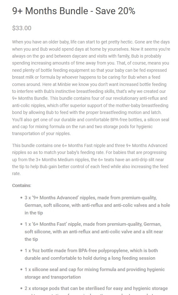 9+ months bundle Minbie product description