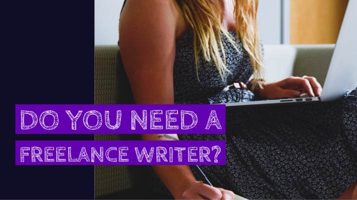 When to hire a freelance writer?: The image features a woman typing on a laptop on her lap and writing on a note pad on the seat she's sitting on. The text overlay has the blog post title (When to hire a freelance writer?)