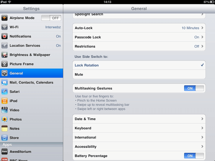 iPad Log Day 4 : Oh… the Settings App