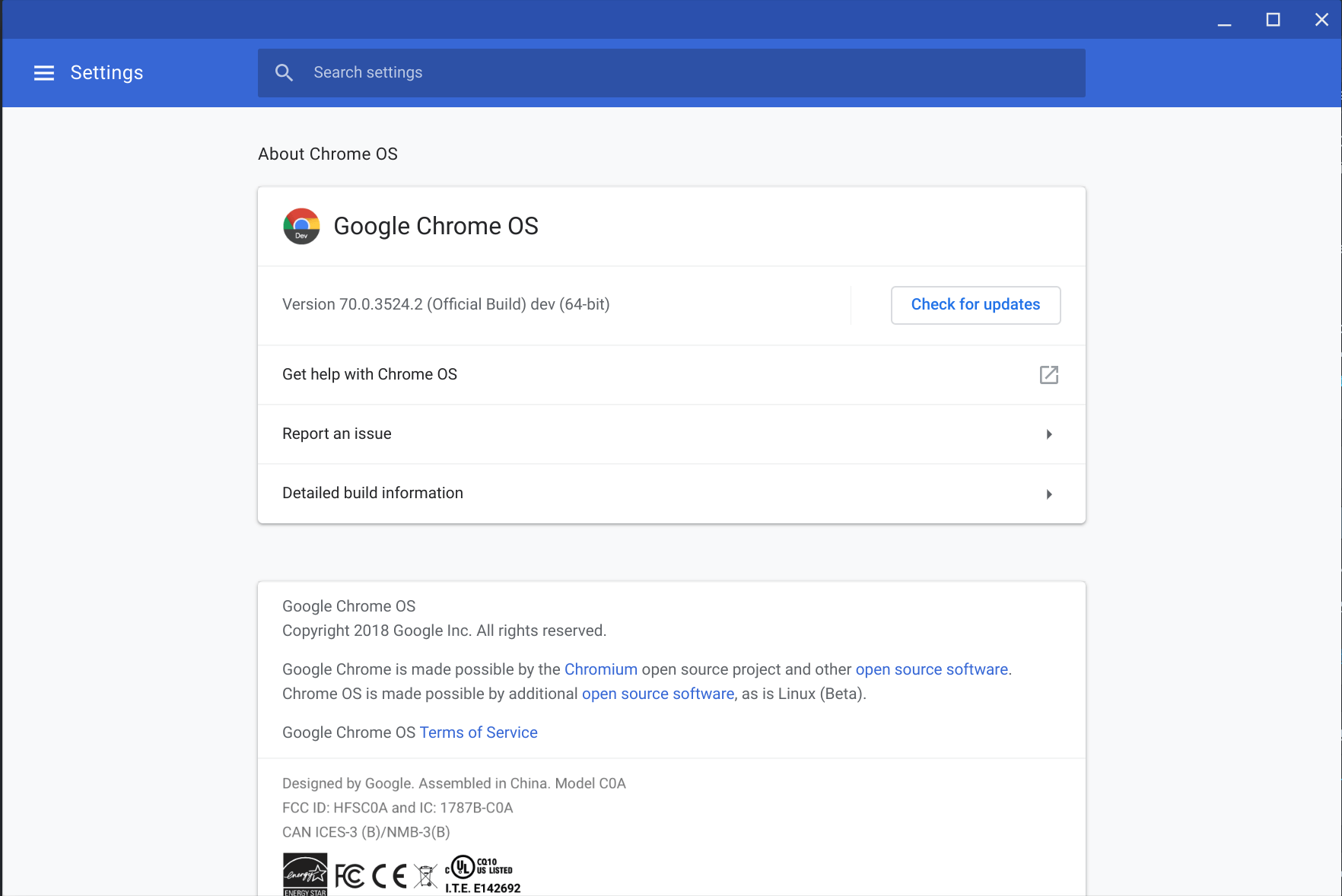 ChromeOS 70.0.3524.2 rolling out to users in the Dev Channel