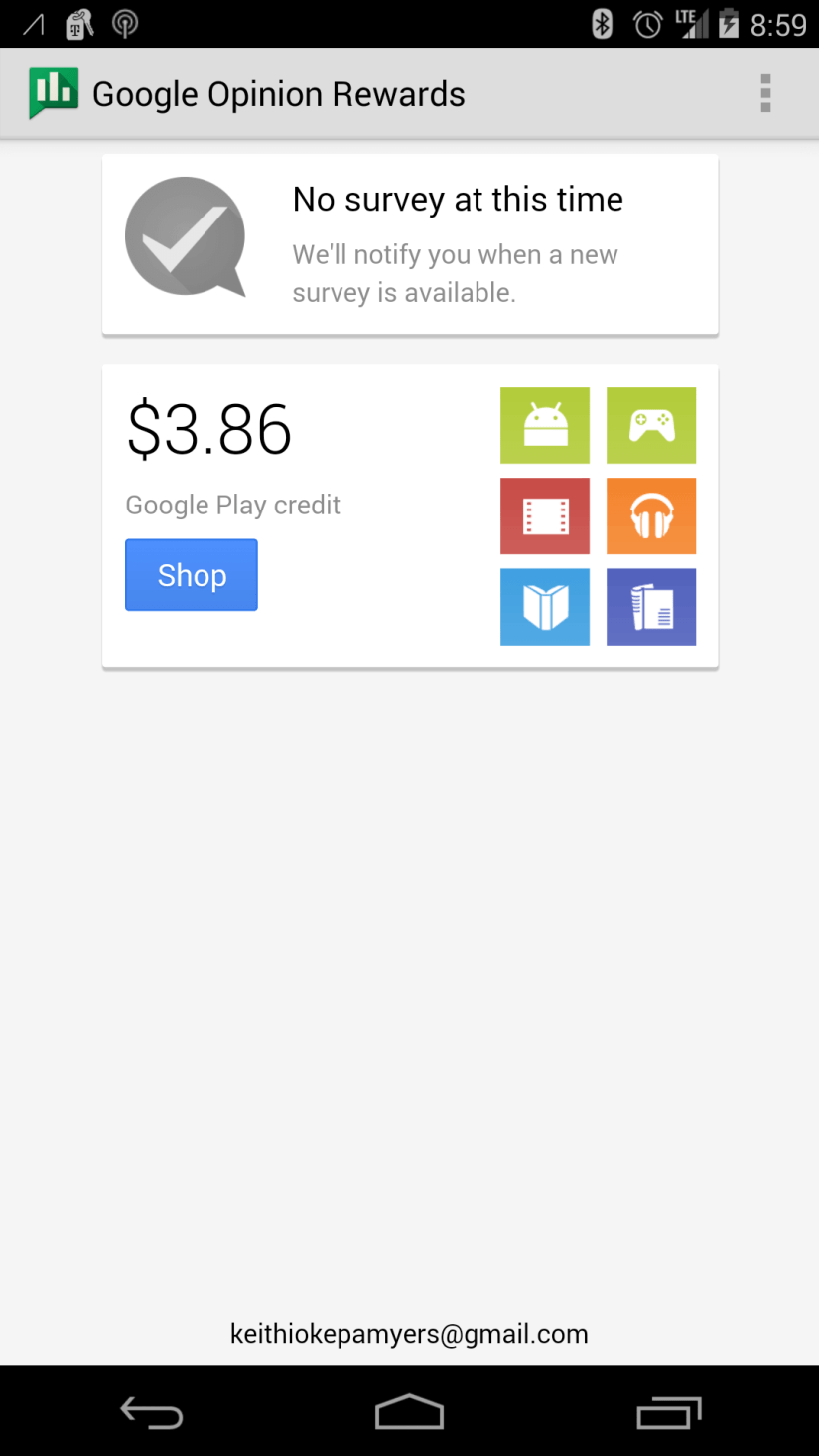 My 2nd +Google Rewards Survey for $1.00.