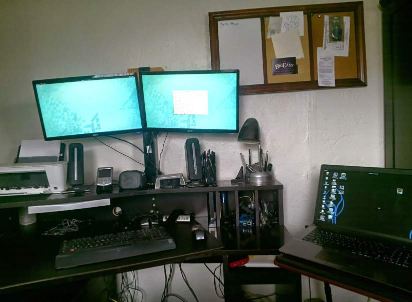 Well... I finally got my desk setup last night and my computer formatted with a fresh copy of +Ubuntu GNOME(15.04). I will be spending the night working on cable management.
