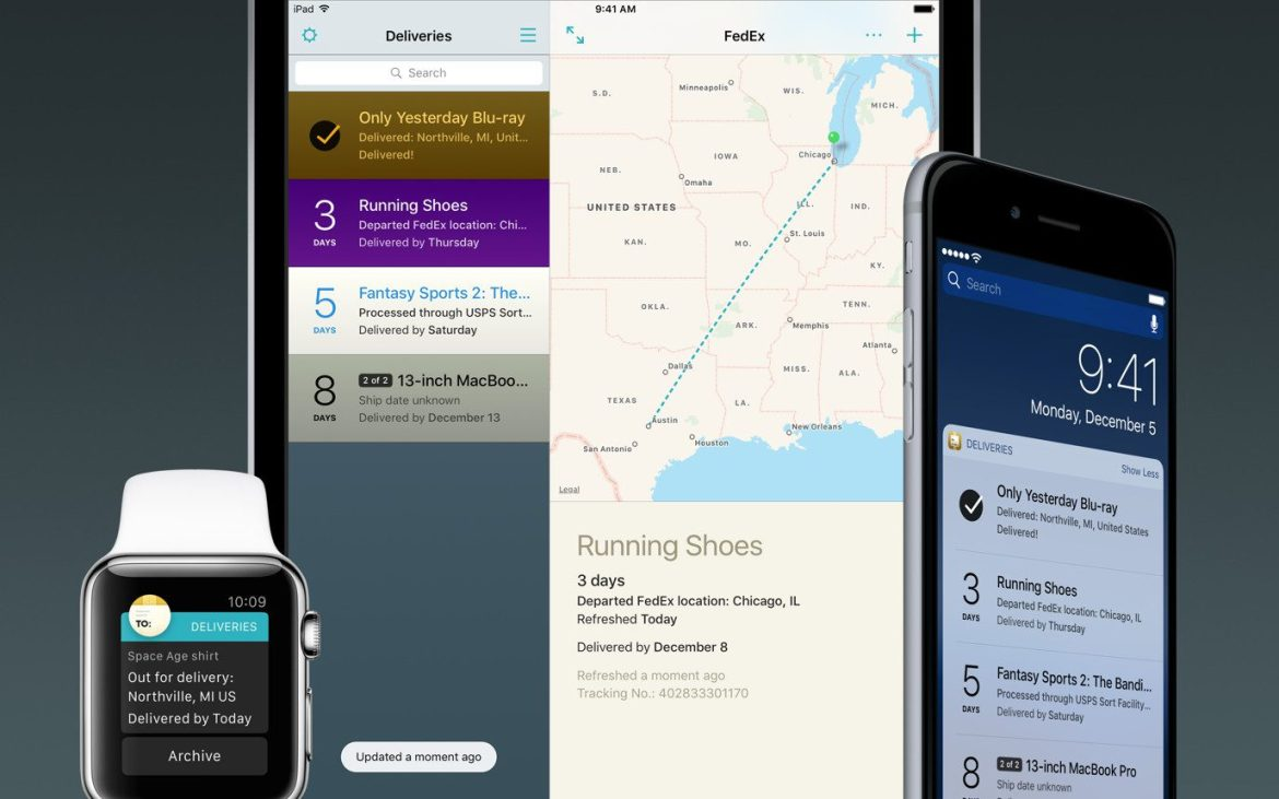 Deliveries 9 for iOS and Mac tells you where it's at