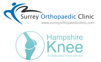 logos for surrey orthopaedic clinic and hampshire knee