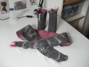 felted collar & wrist warmer