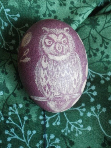 coloured egg with owl (citron acid etched)