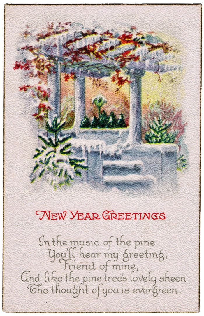 Antique New Year Postcard Knick Of Time
