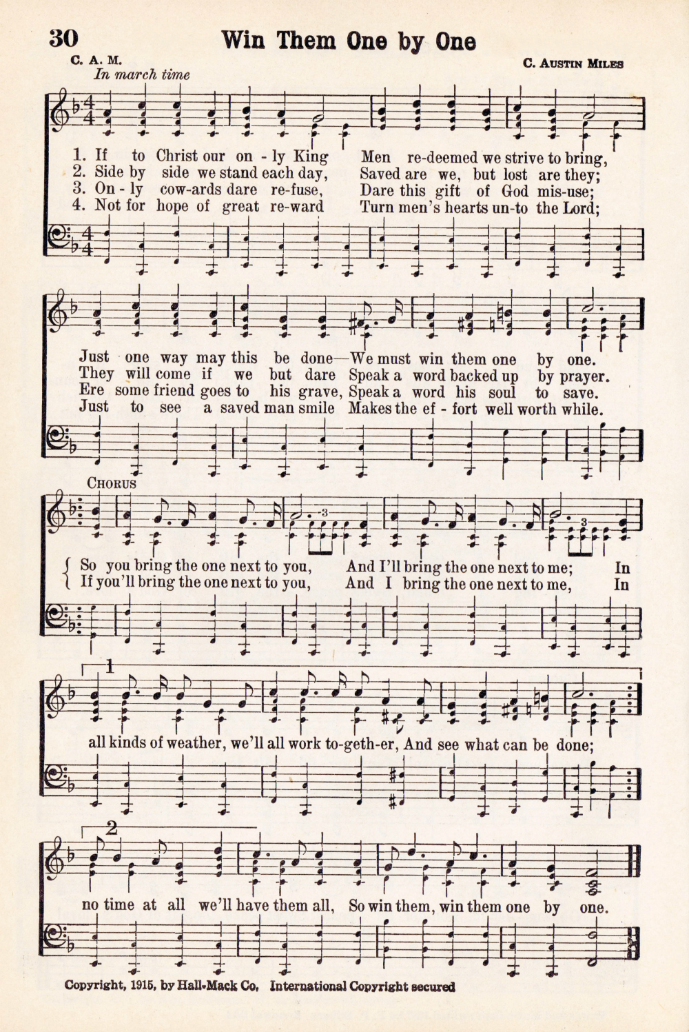 Antique Hymn Printable Music Page Win Them One By One