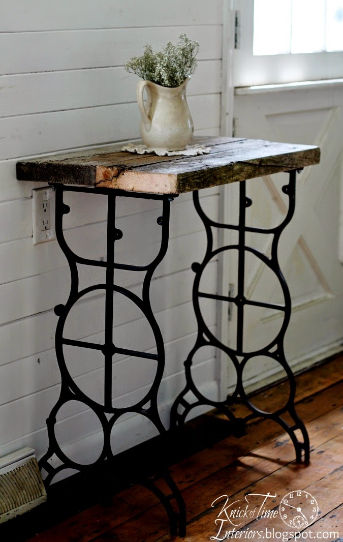Antique Sewing Machine Table into Rustic Side Table