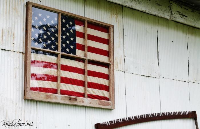 Antique Window Framed Flag Display Knick Of Time