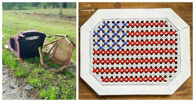 repurposed cross stitch American flag