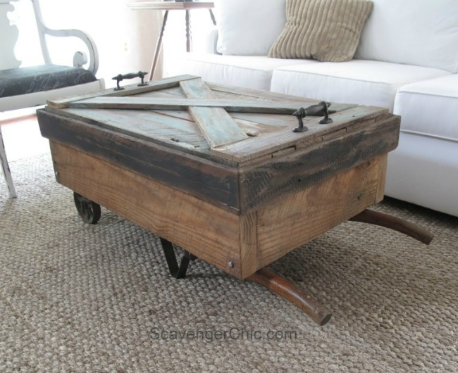 upcycled hand cart coffee table
