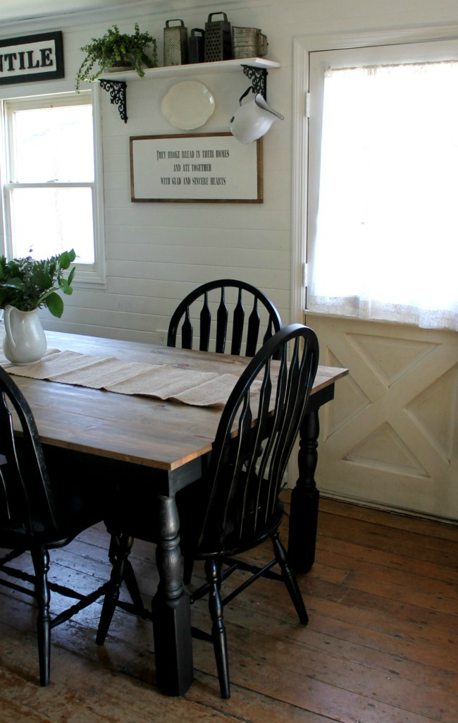 farmhouse kitchen tables the orleans island black and white update knick of time table painted chairs www knickoftime net