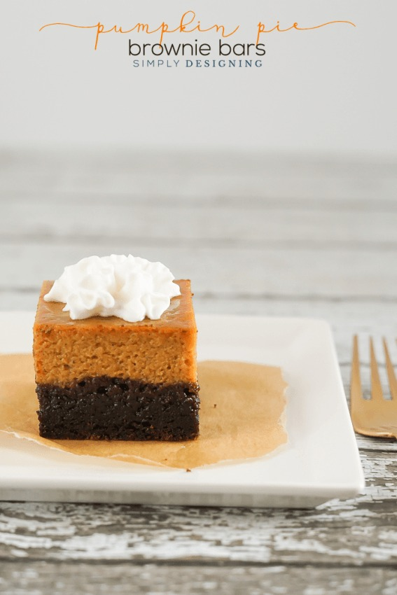 Easy Pumpkin Pie Brownie Bars by Simply Designing