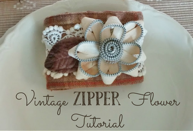 Upcycled shirt cuff bracelets and zipper flowers by Little Vintage Cottage