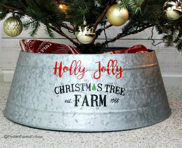 DIY Custom Painted Christmas Tree Collar by The Red Painted Cottage