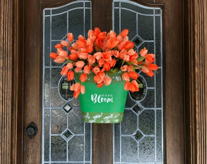 To Make a Tulip Bucket Door Decor