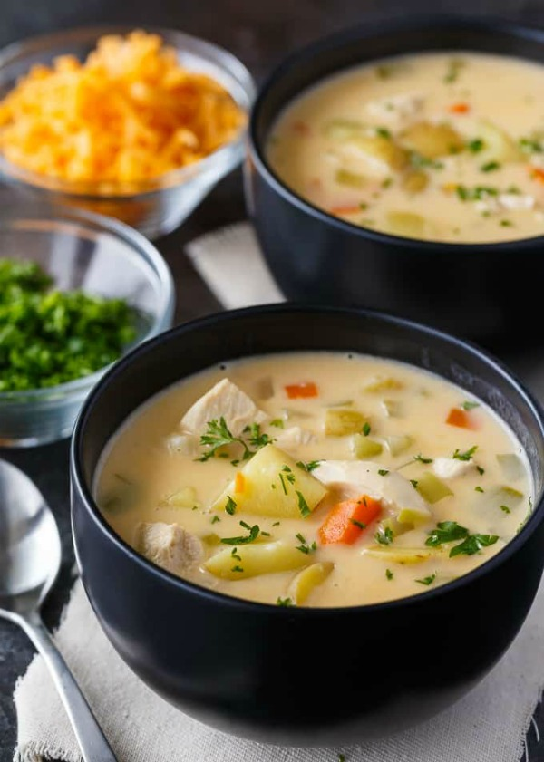 Cheesy Chicken Chowder by Simply Stacie