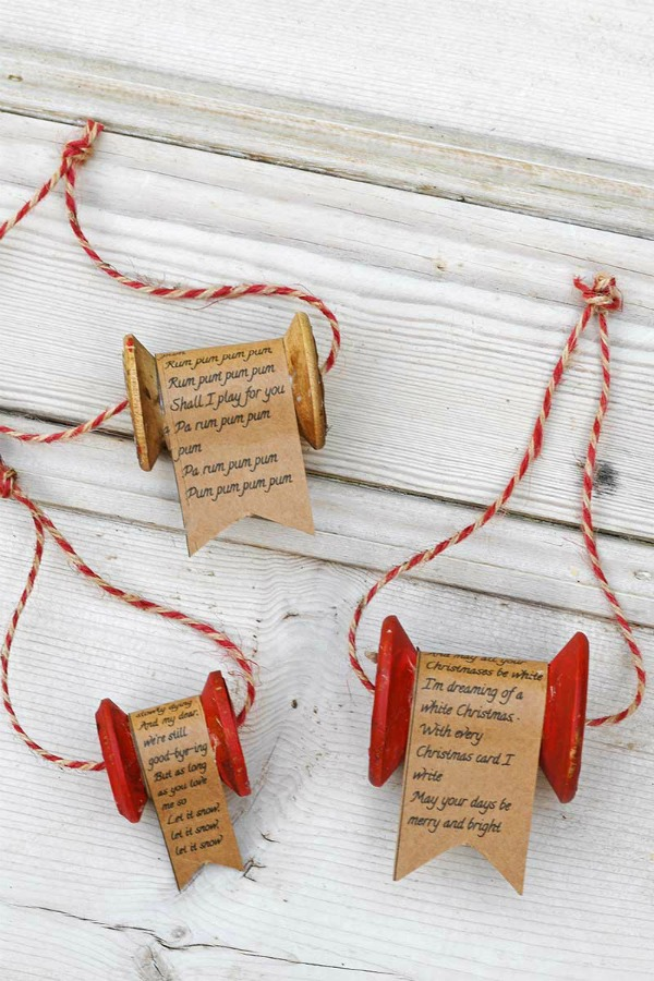 Wooden Thread Spool Ornament For Christmas by Pillar Box Blue
