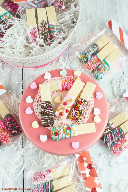 Valentine's Day Chocolate Dipped Wafer Cookies