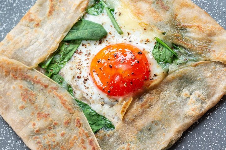 Folded and finished buckwheat crepe in a pan