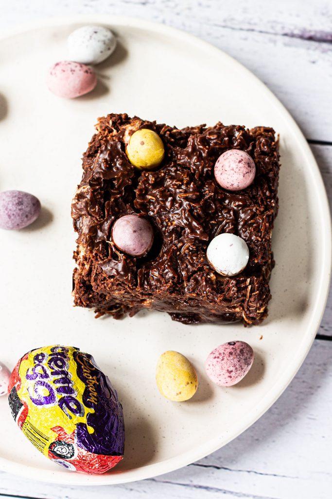 Cadburys Cream & Mini Egg Brownie on a plate