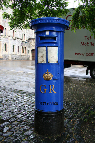 post boxes in blue