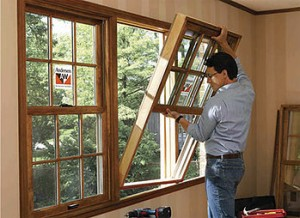person installing window