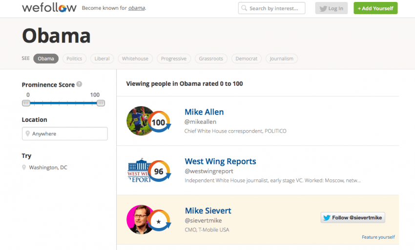 WeFollow shows users the most prominent voices speaking on a given topic.
