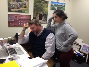 Senior Riley Muse and College Counselor Mr. Bradley stew over the Common Application. Photo: John Morrison