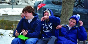 Dylan Abbot (11), Trevor Cefalu (11), and Andy Bainton (10) enjoyed the snow in Boston. Photo: Lydia James