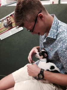 Senior Mark Grenader enjoys spending time with the adorable puppies at Petland.  Credit: Caroline Mills