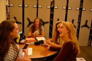 Freshmen Grace Pottorf, Emily Payne, Jill Rawls, and Blair Myers enjoy each other's company. Photo: Sarah Kitchen