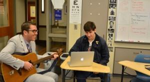 Mr. Player rehearses their new song with freshman Lane Goldman. Photo: Alexis Wilkins