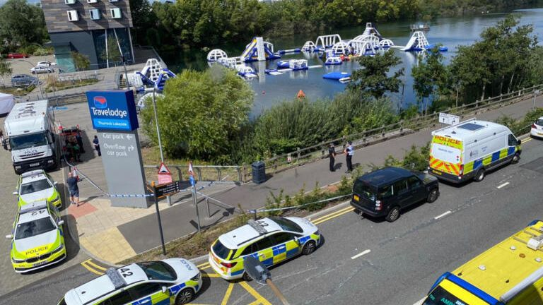 Search for teenager missing in lake near shopping centre
