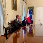 Prince Jose, Ambassador Sir James Angleton Prior, Ambassador Sir Roberto Munoz, Ambassador Sir Manny Gonzales discussing Trade