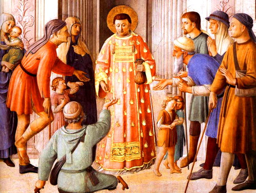 Deacon St Lawrence (3rd century) giving alms, Fra Angelico (ca.1448 AD)
