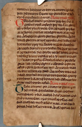 Book of Taliesin, page MS2, (C) National Library of Wales (academic 'fair use')
