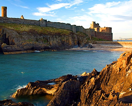 Peel Castle on St. Peter's Isle at Isle of Man ('Ellin Vannin'), believed to be the historical site of the legendary Arthurian 'Avalon'