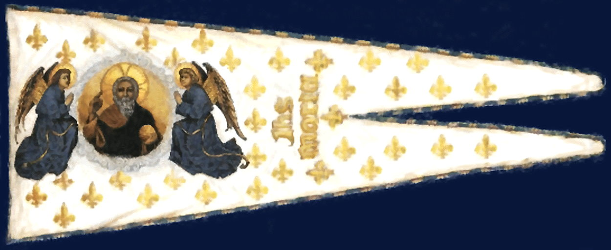 Battle Banner Flag of Joan of Arc, historical account supported by other paintings, as used by Joan of Arc in 1429 AD