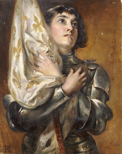 Joan of Arc Holding Banner - Robert Hillingford (ca.1890 AD) Private Collection