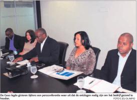 De Geus legde gisteren tijdens een persconferentie weer uit dat de ontslagen nodig zijn om het bedrijf gezond te houden. FOTO'S JEU OLIMPIO
